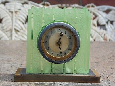 Heinrich Hoffmann Green & Frosted Glass Art Deco Clock in GWO