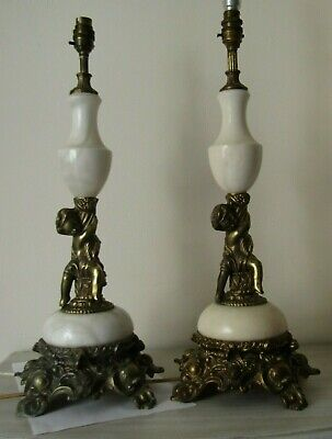Antique Bronze Art Nouveau  White Marble Cherub Table Large two Lamp