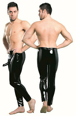 Latex Herren Leggings mit Kondom Hose Latexslip Strumpfhose Penishülle Rubber