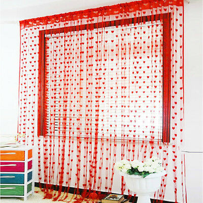 50x200cm Love Heart String Curtain Window Door Divider Sheer Curtain Valance US