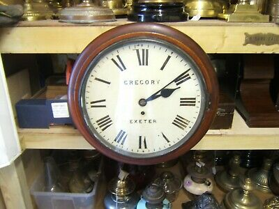 "Wall clock vintage Mahogany fusee 15"" across Gregory Exeter railway/school"