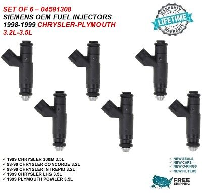 "04591308 3.5L V6 Chrysler 300M 1999OEM Siemens Rebuilt /""6Pc/"" Fuel Injectors"