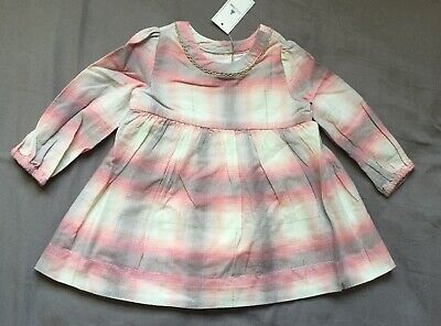 Baby Girl 6-12 Month Baby Gap Pink Gray Plaid Long Sleeve Dress & Bloomers