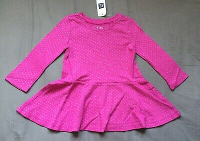 Baby Girl 6-12 Month Baby Gap Pink Silver Polka Dot Fit & Flare Dress