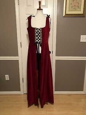 Likely Lotus Beautiful Red Velvet Renaissance  Medieval Costume Overdress ~ EUC!