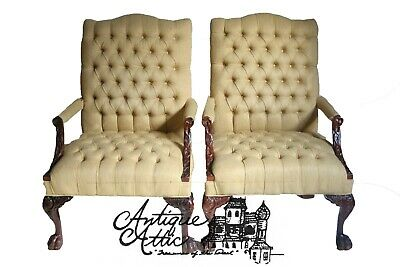 Pair of Chippendale style armchairs Tufted Upholstry Ball & Claw Georgian