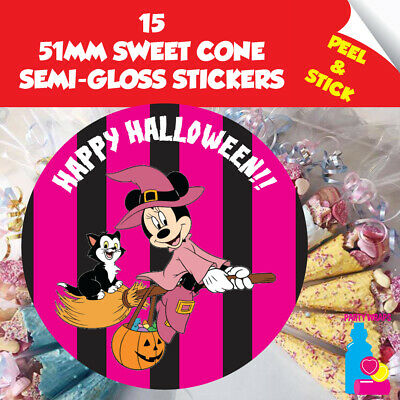 15 Halloween Trick or Treat Minnie Mouse Sweet Cone or Gift Party Stickers