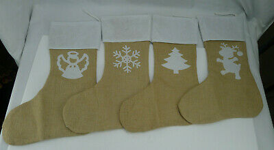 Burlap Christmas Stockings.Lot 4 Burlap Christmas Stockings 18 Large Jute Hanging