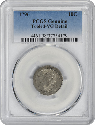 1796 Bust Silver Dime, Genuine (Tooled-VG Details), PCGS