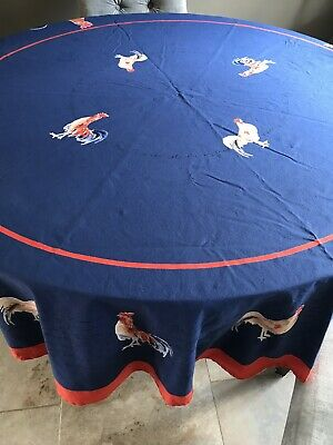 """Williams- Sonoma 70"""" Round French Country Roosters Tablecloth Blue Red"""