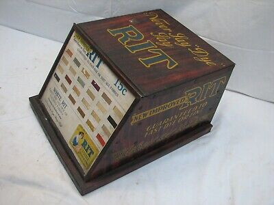 Vintage RIT Dyes Country Store Display Litho Cabinet Fabric Sewing Advertising