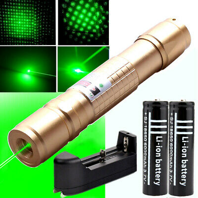 Powerful Green 1mw Laser Pointer Pen Light Star Cap Bright+18650 Battery+Charger