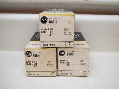 3 New Allen Bradley 800H-PK16R Ser B XMFR 120V Red Indicator Pilot Light Lot