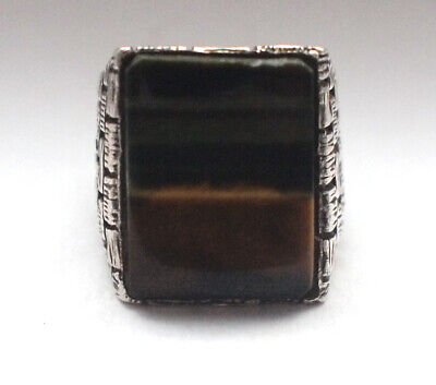 Stunning Vintage Retro 925 Sterling Silver Tigers Eye Large Big Antique 20g Q 8