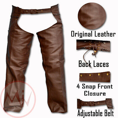 Men's Brown Leather Motorcycle Chaps Biker Braided Design Lacing Back XS TO 6XL