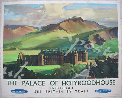 Vintage British Rail Edinburgh Pipe Band Railway Poster A3 Print