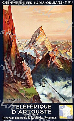 Vintage French Pyrenees Tourism Poster A3/A4 Print