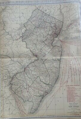 c1921 New Jersey State Map RR from Rand McNally Commercial Atlas of America