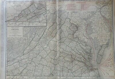 c1921 Virginia Eastern Section Map RR Rand McNally Commercial Atlas of America