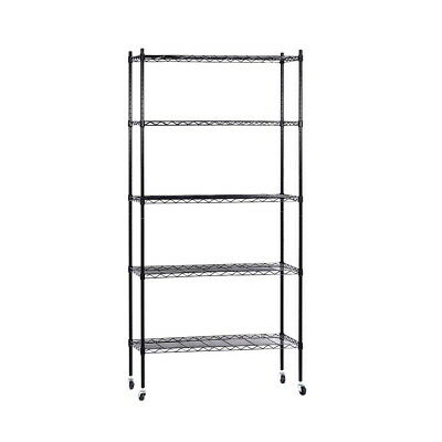90cm 5-Tier Wire Shelf Shelving Unit Storage Shelves Rack Kitchen Trolley Black