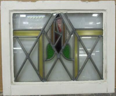 "OLD ENGLISH LEADED STAINED GLASS WINDOW Gorgeous Abstract Geometric 20.5"" x 17"""