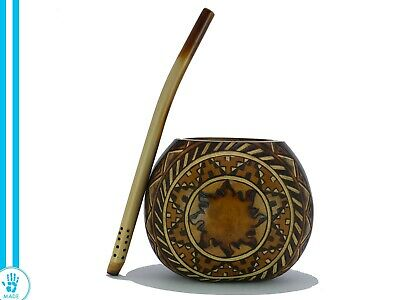 Handcarved Mate Gourd Cup + Straw + Gift - Yerba Mate Tea - Handmade - Argentina