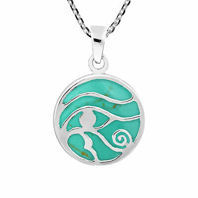Ancient Symbol Eye of Horus Green Turquoise Inlay .925 Sterling Silver Necklace