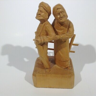 Vintage Folk Art Carving From Quebec Signed Caron