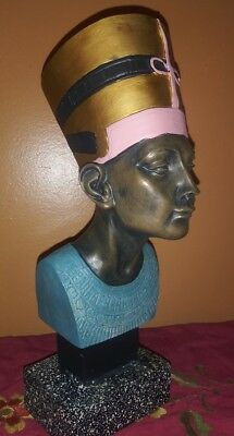 "NICE !!! Egyptian Art Bust Statue Pharoah Queen Nefertiti 11"" Figure on Base !!!"