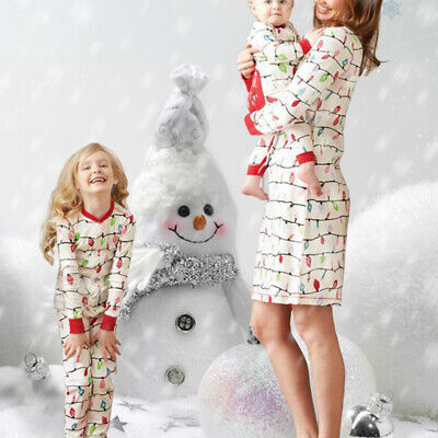 2019 Mother Printted Daughter Romper Dress Christmas Family Wear Xmas Nightwear