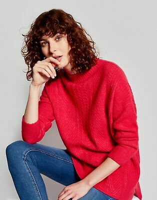 Joules Womens Fallon Warm Cable Jumper in RASPBERRY