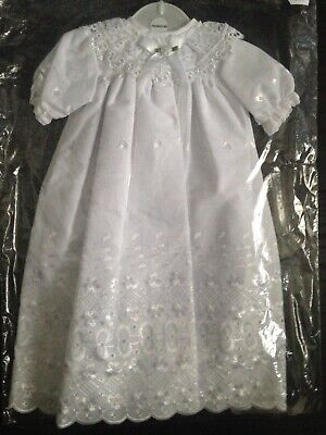 Premature Baby christening baptism gown in white with bonnet 3-5lbs