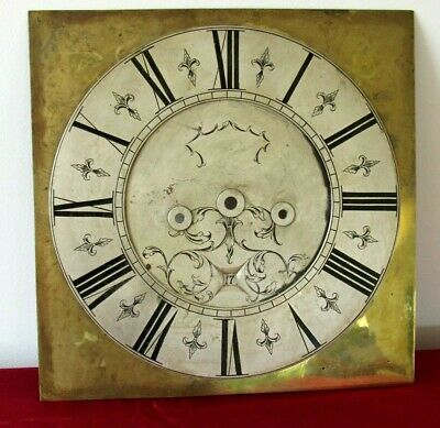 Nice Antique Hand Engraved Brass Grandfather/Longcase Clock 12in Dial