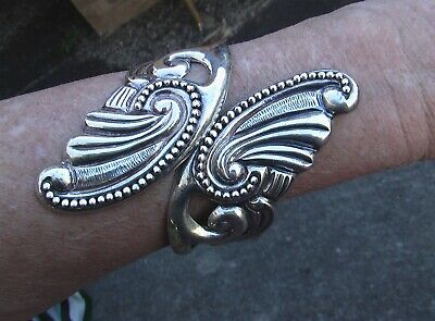 Vintage Sterling Clamper.  Cuff Bangle.  Ornate Scroll Work.  Mexico