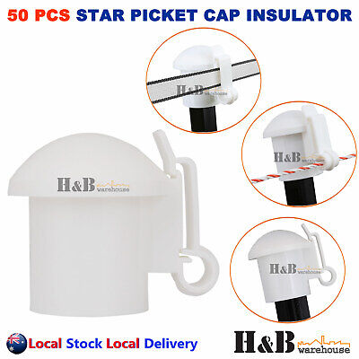 50 Pcs Cap Insulators Star Picket Insulator Electric Fence Post Poly Wire Tape