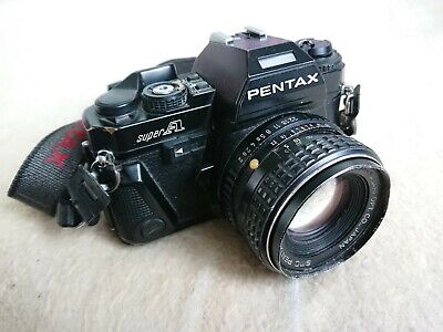 Asahi Pentax Super A 35mm Film SLR Camera Black + SMC Pentax 1:2 55mm 2/55 Lens