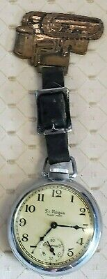 Antique St Regis Pocket Watch With Brass Tractor Fob~ Free Ship!