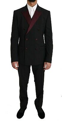 DOLCE & GABBANA Suit Black Wool 3 Piece Double Breasted EU52/US42/XL RRP $2500