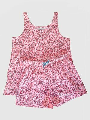 Ex Mini Boden Girls Kids Pink Pyjama Set Shorts and Vest Age 5 - 16 Years (P201)