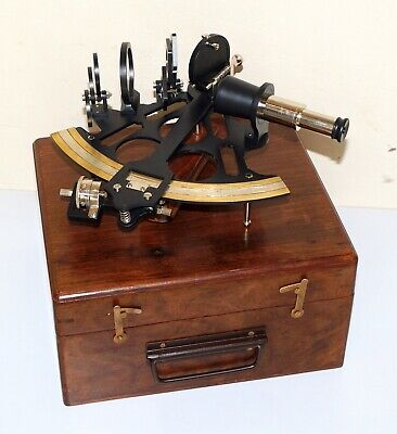 Antique vintage nautical replica sextant working navy navigation with wooden box