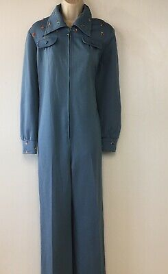 VTG 70's Paul Of California Womens One Piece Zip Up Jumpsuit Embroidered 14 READ