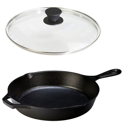 Cast Iron Frying Pan With Lid 10.25 Inch LODGE Cookware Set Eggs Stir Fry Large