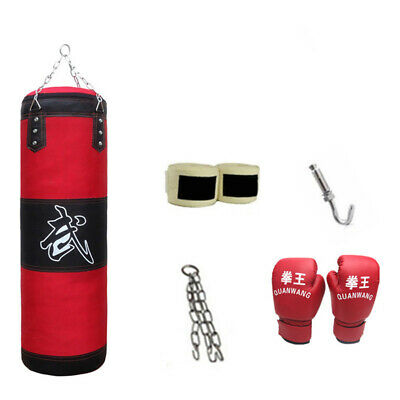 Fitness Sac de Boxe Suspendu Sports Bandages Crochet Gants Ensemble Taekwondo