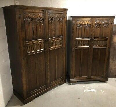 Outstanding Pair Of Carved Oak Arts & Crafts Wardrobes Very Clean Condition
