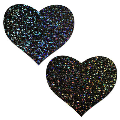 Sweety:Rainbow /& Silver Glitter Color Changing Heart Nipple Pasties by Pastease
