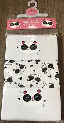 Girls 3 Pack Panda Vests Age 5-6 Years Old Panda Gift Present Back To School
