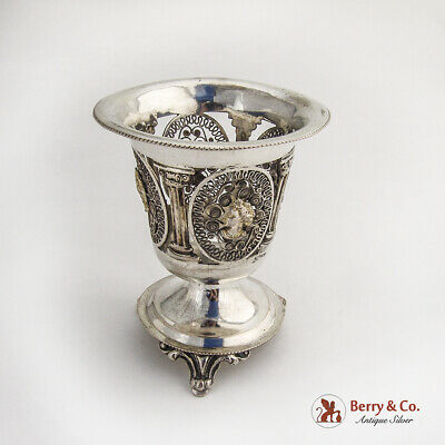 Classical Revival Medallion Footed Vase German 14 Loth Silver 1850