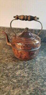 Antique Goose Neck Copper Tea Kettle w/ Wooden Handle Made in England (Lot 100)
