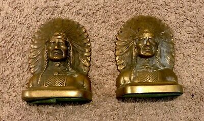 Antique Native American Indian Head Heavy Bronze Cast Iron Book Ends 7.2 Pounds
