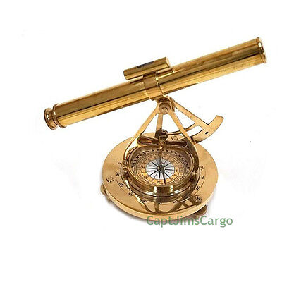 "Solid Brass Alidade Compass 8.5"" Decorative Nautical Decor Gift New"